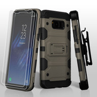 *SALE* Military Grade Certified Storm Tank Case with Holster and Screen Protector for Samsung Galaxy S8 - Dark Grey