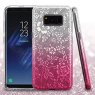 Full Glitter Hybrid Protective Case for Samsung Galaxy S8 - Hibiscus Gradient Pink