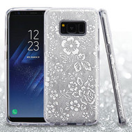 Full Glitter Hybrid Protective Case for Samsung Galaxy S8 - Hibiscus Silver