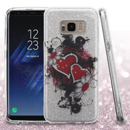 Full Glitter Hybrid Protective Case for Samsung Galaxy S8 - Hearts