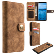 *SALE* Luxury Coach Lite Series Leather Wallet with Removable Magnetic Case for Samsung Galaxy S8 - Brown