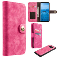*SALE* Luxury Coach Lite Series Leather Wallet with Removable Magnetic Case for Samsung Galaxy S8 - Hot Pink