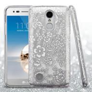 Full Glitter Hybrid Protective Case for LG Aristo / Fortune / K8 2017 / Phoenix 3 - Hibiscus Silver