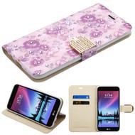 Luxury Bling Portfolio Leather Wallet Case for LG K20 Plus / K20 V / K10 (2017) / Harmony - Purple Flowers
