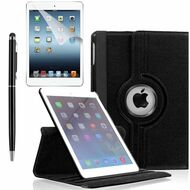360 Degree Smart Rotating Leather Case Accessory Bundle for iPad (2018/2017) / iPad Air - Black
