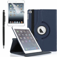 360 Degree Smart Rotating Leather Case Accessory Bundle for iPad (2018/2017) / iPad Air - Navy Blue