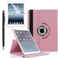 360 Degree Smart Rotating Leather Case Accessory Bundle for iPad (2018/2017) / iPad Air - Pink