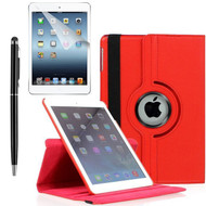 360 Degree Smart Rotating Leather Case Accessory Bundle for iPad (2018/2017) / iPad Air - Red