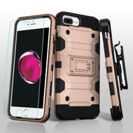 *SALE* Military Grade Storm Tank Holster Case + Tempered Glass for iPhone 8 Plus / 7 Plus / 6S Plus / 6 Plus - Rose Gold