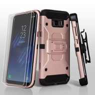 3-IN-1 Kinetic Hybrid Armor Case with Holster and Screen Protector for Samsung Galaxy S8 Plus - Rose Gold