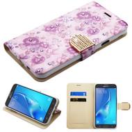 Luxury Bling Portfolio Leather Wallet Case for Samsung Galaxy J7 (2017) / J7 V / J7 Perx - Purple Flowers