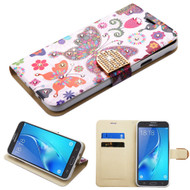 Luxury Bling Portfolio Leather Wallet Case for Samsung Galaxy J7 (2017) / J7 V / J7 Perx - Butterfly Wonderland