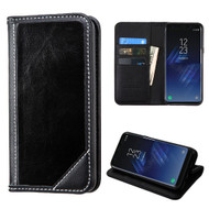 Mybat Genuine Leather Wallet Case for Samsung Galaxy S8 - Black