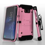 3-IN-1 Kinetic Hybrid Armor Case with Holster and Screen Protector for Samsung Galaxy S8 Plus - Pink