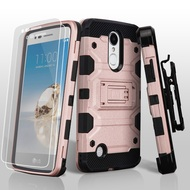 Military Grade Storm Tank Case + Holster + Tempered Glass for LG Aristo / Fortune / K8 2017 / Phoenix 3 - Rose Gold