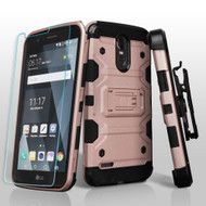 Military Grade Storm Tank Holster Case + Shatter-Proof Screen Protector for LG Stylo 3 / Stylo 3 Plus - Rose Gold
