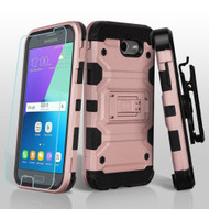 Storm Tank Holster Case + Tempered Glass for Samsung Galaxy J3 (2017) / J3 Emerge / J3 Prime / Amp Prime 2 - Rose Gold