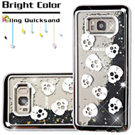 Electroplating Quicksand Glitter Transparent Case for Samsung Galaxy S8 - Skulls Silver