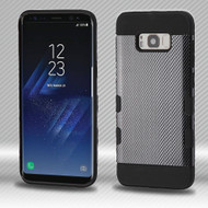 Military Grade Certified TUFF Trooper Dual Layer Hybrid Armor Case for Samsung Galaxy S8 Plus - Carbon Fiber
