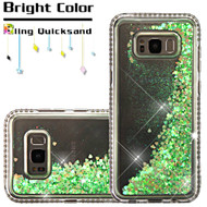 Diamond Quicksand Glitter Transparent Case for Samsung Galaxy S8 - Green