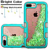 TUFF Quicksand Glitter Hybrid Armor Case for iPhone 8 Plus / 7 Plus / 6S Plus / 6 Plus - Teal Fluorescent Green