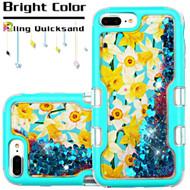 *Sale* TUFF Quicksand Glitter Hybrid Armor Case for iPhone 8 Plus / 7 Plus / 6S Plus / 6 Plus - Spring Daffodils