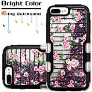 TUFF Quicksand Glitter Hybrid Armor Case for iPhone 8 Plus / 7 Plus / 6S Plus / 6 Plus - Pink Fresh Roses
