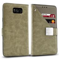 Cosmopolitan Leather Canvas Wallet Case for Samsung Galaxy S8 Plus - Grey