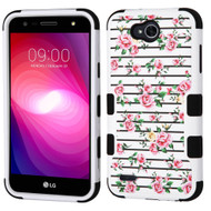Military Grade Certified TUFF Image Hybrid Armor Case for LG X Power 2 / Fiesta - Pink Fresh Roses