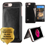 Pocket Wallet Case with Stand and Tempered Glass Screen Protector for iPhone 8 Plus / 7 Plus - Black