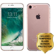Rubberized Crystal Case and Tempered Glass Screen Protector for iPhone 8 / 7 - Clear