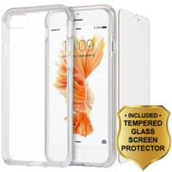 Crystal Clear TPU Case with Bumper Support and Tempered Glass Screen Protector for iPhone 8 / 7 - Clear