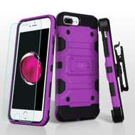 *SALE* Military Grade Storm Tank Case + Holster + Tempered Glass for iPhone 8 Plus / 7 Plus / 6S Plus / 6 Plus - Purple