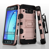 Military Grade Storm Tank Hybrid Case with Holster and Tempered Glass for Samsung Galaxy On5 - Rose Gold