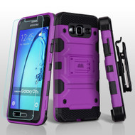 Military Grade Storm Tank Hybrid Case with Holster and Tempered Glass Screen Protector for Samsung Galaxy On5 - Purple