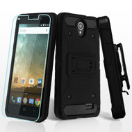Kinetic Hybrid Case + Holster + Tempered Glass for ZTE Avid Plus / Maven 2 / Prestige 2 / Sonata 3 / ZFive 2 - Black