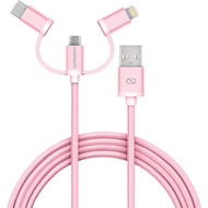 Naztech MFi Braided 3-in-1 Hybrid USB Cable - Rose Gold