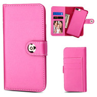 2-IN-1 Premium Leather Wallet with Removable Magnetic Case for iPhone 8 Plus / 7 Plus - Hot Pink