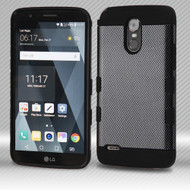 Military Grade Certified TUFF Trooper Dual Layer Hybrid Armor Case for LG Stylo 3 / Stylo 3 Plus - Carbon Fiber