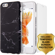 Marble TPU Case and Tempered Glass Screen Protector for iPhone 6 Plus / 6S Plus - Black