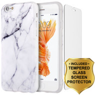Marble TPU Case and Tempered Glass Screen Protector for iPhone 6 / 6S - White