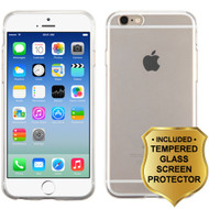 Rubberized Crystal Case and Tempered Glass Screen Protector for iPhone 6 / 6S - Clear