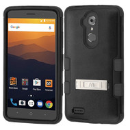 Military Grade Certified TUFF Hybrid Armor Case with Stand for ZTE Max XL / Blade Max 3 - Black