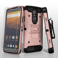 3-IN-1 Kinetic Hybrid Armor Case with Holster and Screen Protector for ZTE Max XL / Blade Max 3 - Rose Gold
