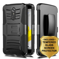 Advanced Armor Hybrid Kickstand Case + Holster + Tempered Glass Protector for ZTE Max XL / Blade Max 3 - Black