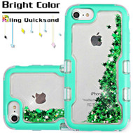 TUFF Quicksand Glitter Hybrid Armor Case for iPhone 8 / 7 / 6S / 6 - Meteor Shower Teal Green