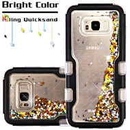 TUFF Quicksand Glitter Hybrid Armor Case for Samsung Galaxy S8 Plus - Meteor Shower Black Gold
