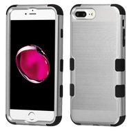 Military Grade Certified Brushed TUFF Hybrid Armor Case for iPhone 8 Plus / 7 Plus / 6S Plus / 6 Plus - Silver