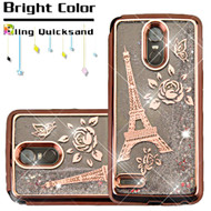 Electroplating Quicksand Glitter Transparent Case for LG Stylo 3 / Stylo 3 Plus - Eiffel Tower Rose Gold