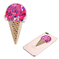 Adhesive Quicksand Glitter Sticker - Ice Cream Red